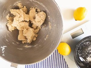 gluten free dough in mixing bowl