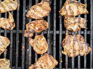 lemongrass pork on the grill