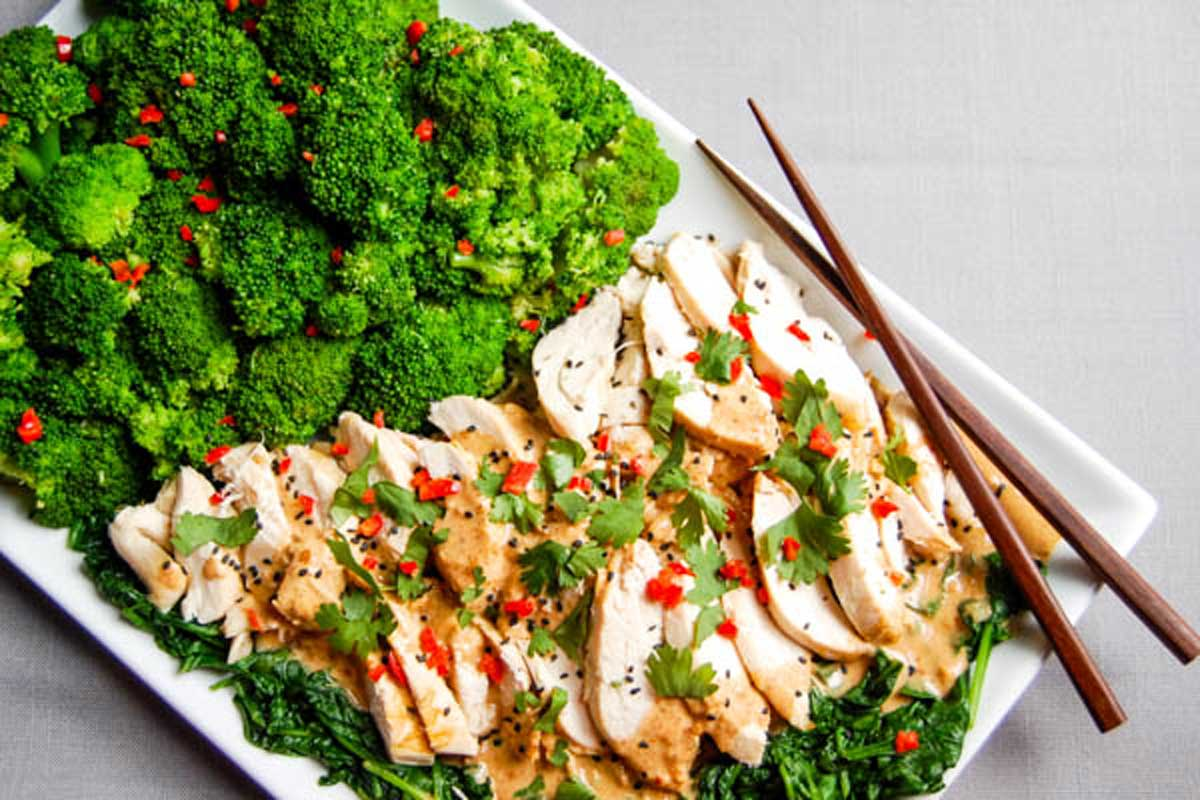 thai peanut sauce on grilled chicken with broccoli