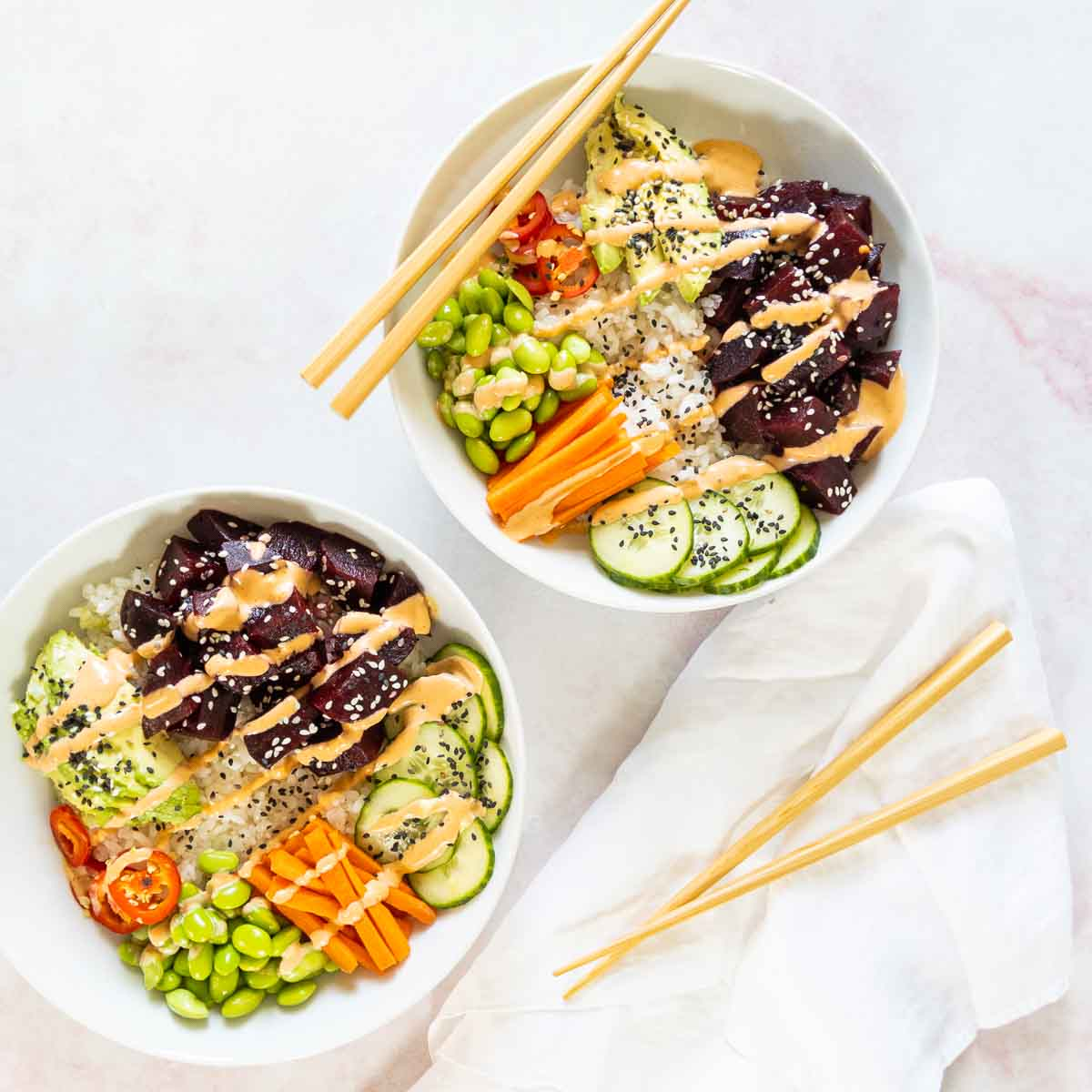 vegan poke bowls with chopsticks