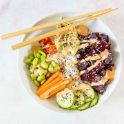 vegan poke bowl with beets in a bowl