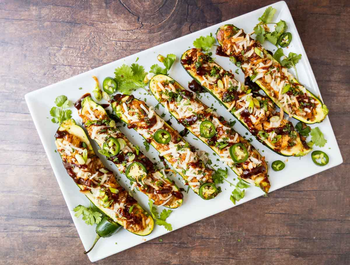 chicken zucchini boats on a serving platter