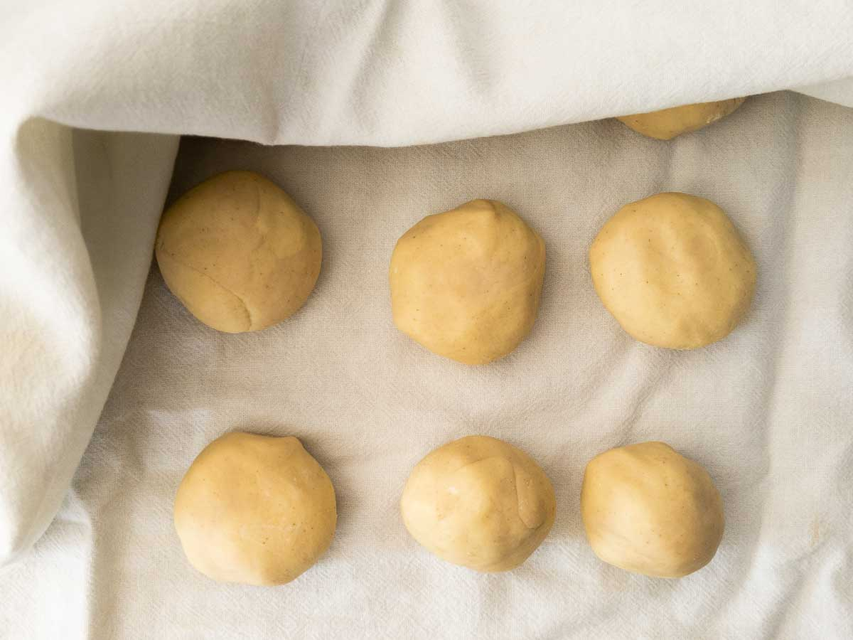 flatbread dough in small peices
