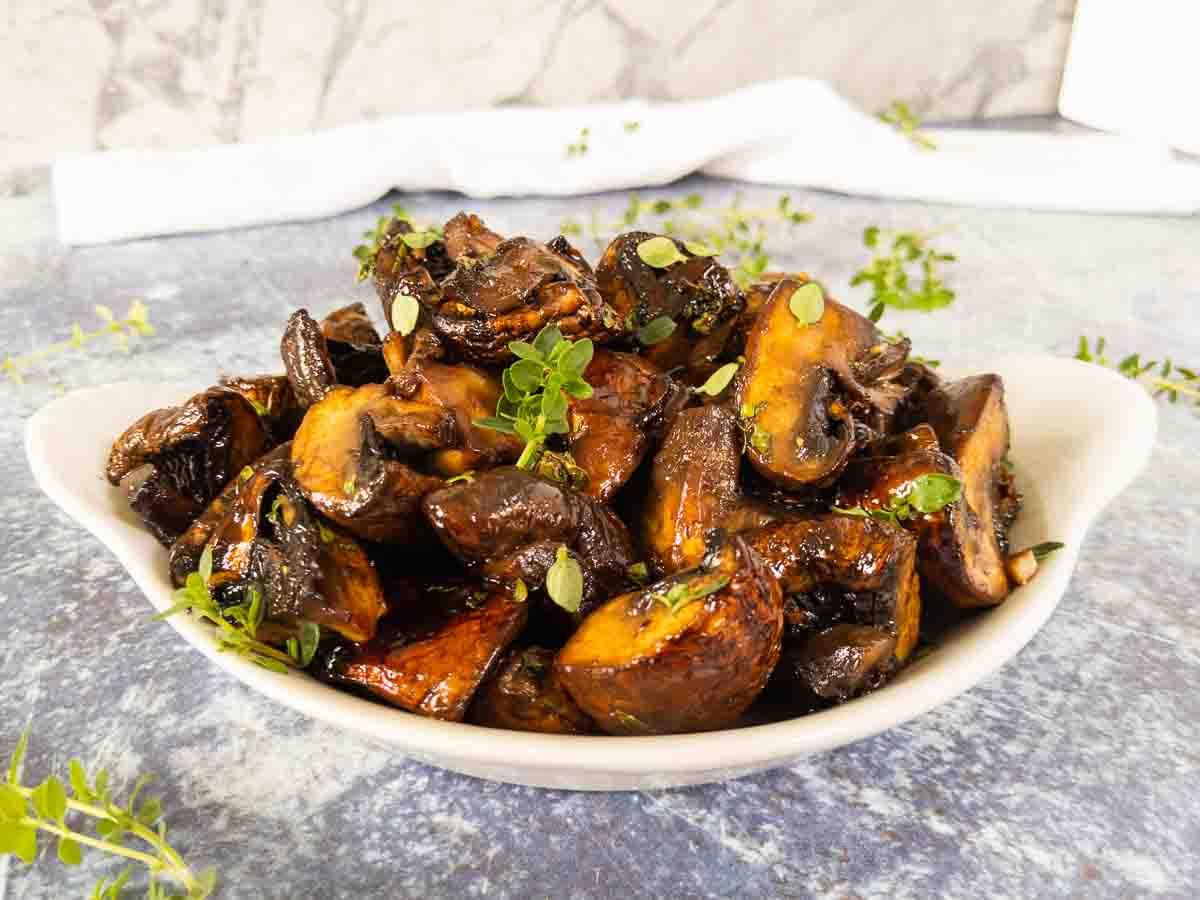 roasted balsamic mushrooms in a bowl