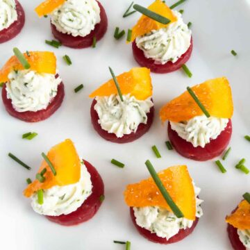 beet and goat cheese bites finger food appetizer on plate
