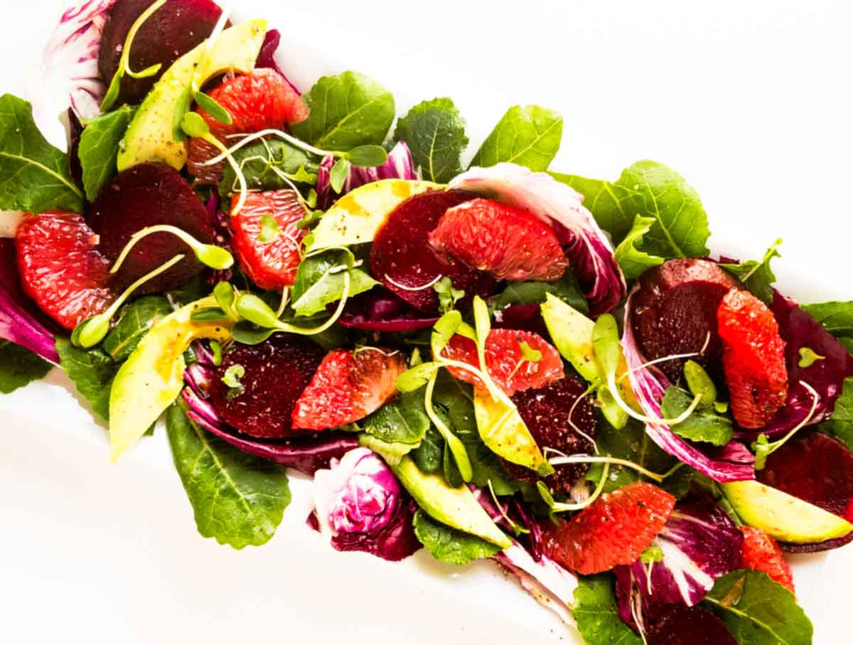 upclose of beet and grapefruit salad