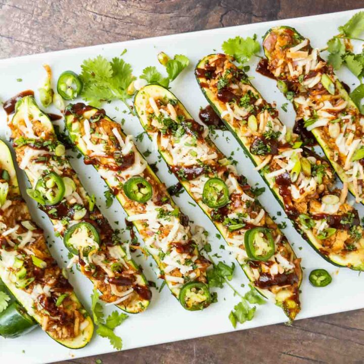 chicken zucchini boats on a platter