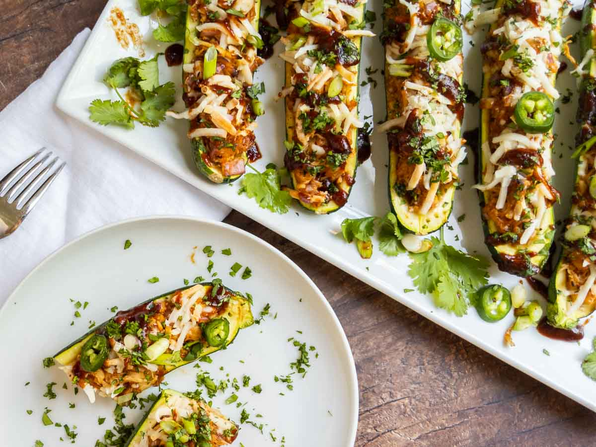 Close up of zucchini boats on a palte