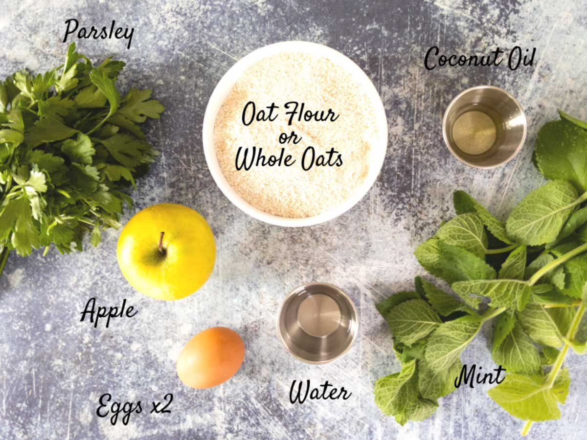 mint dog treat ingredients on counter