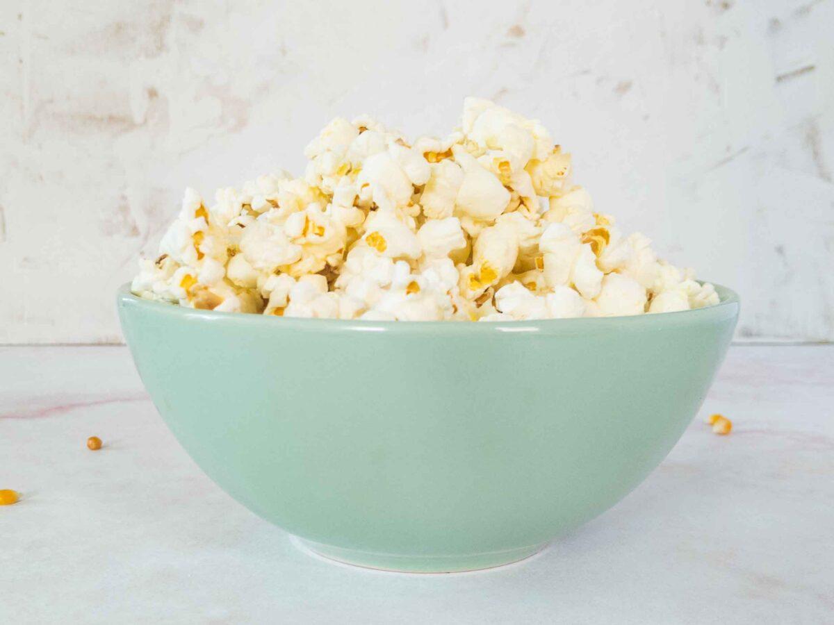 duck fat popcorn in bowl