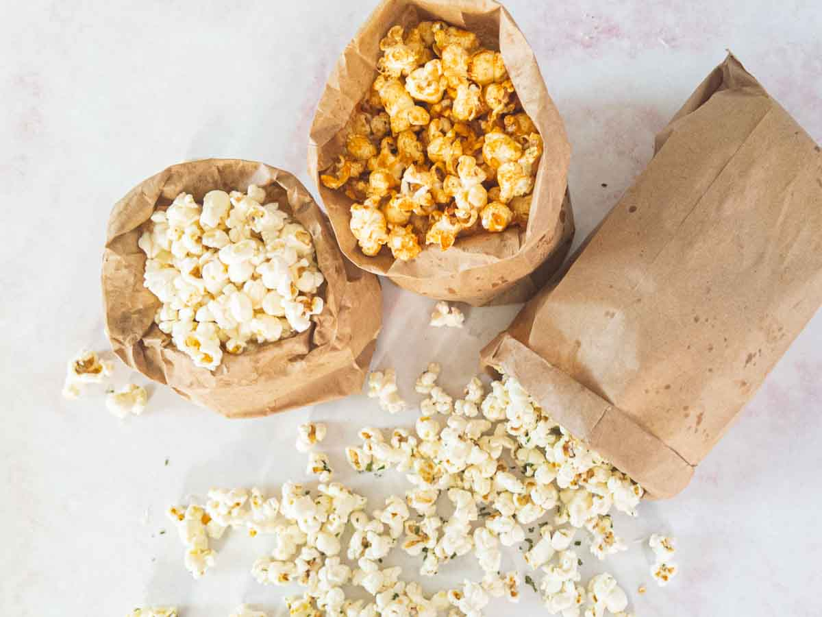 popcorn in paper bags