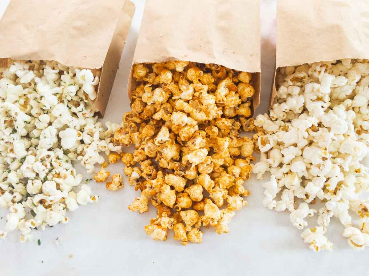 duck fat popcorn flavors in paper bags