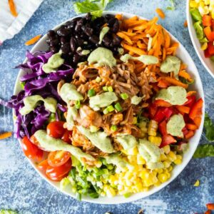 southwest salad with BBQ jackfruit on white plate