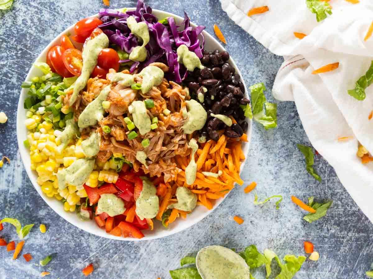 Southwest jackfruit salad with vegan ranch