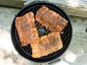 ribs on smoker grates