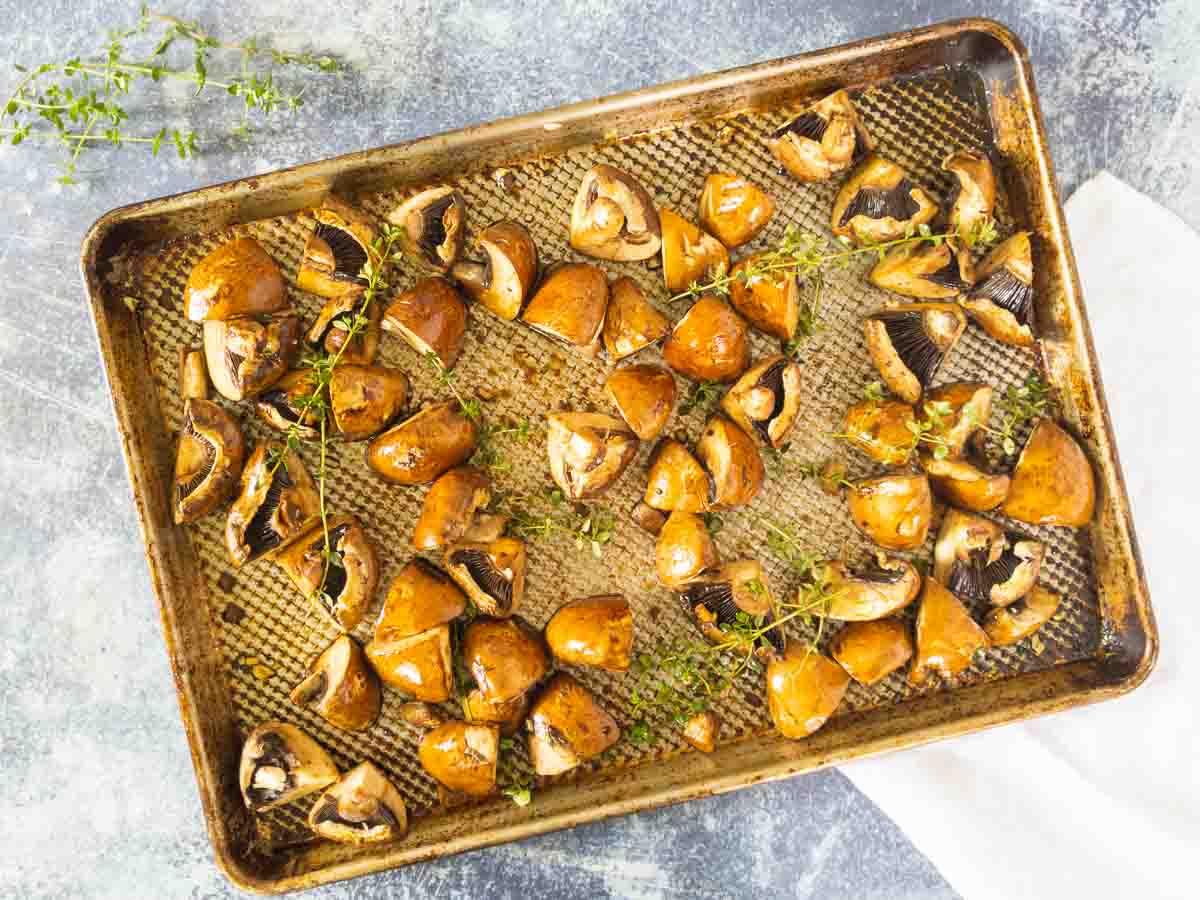 mushrooms on sheet pan