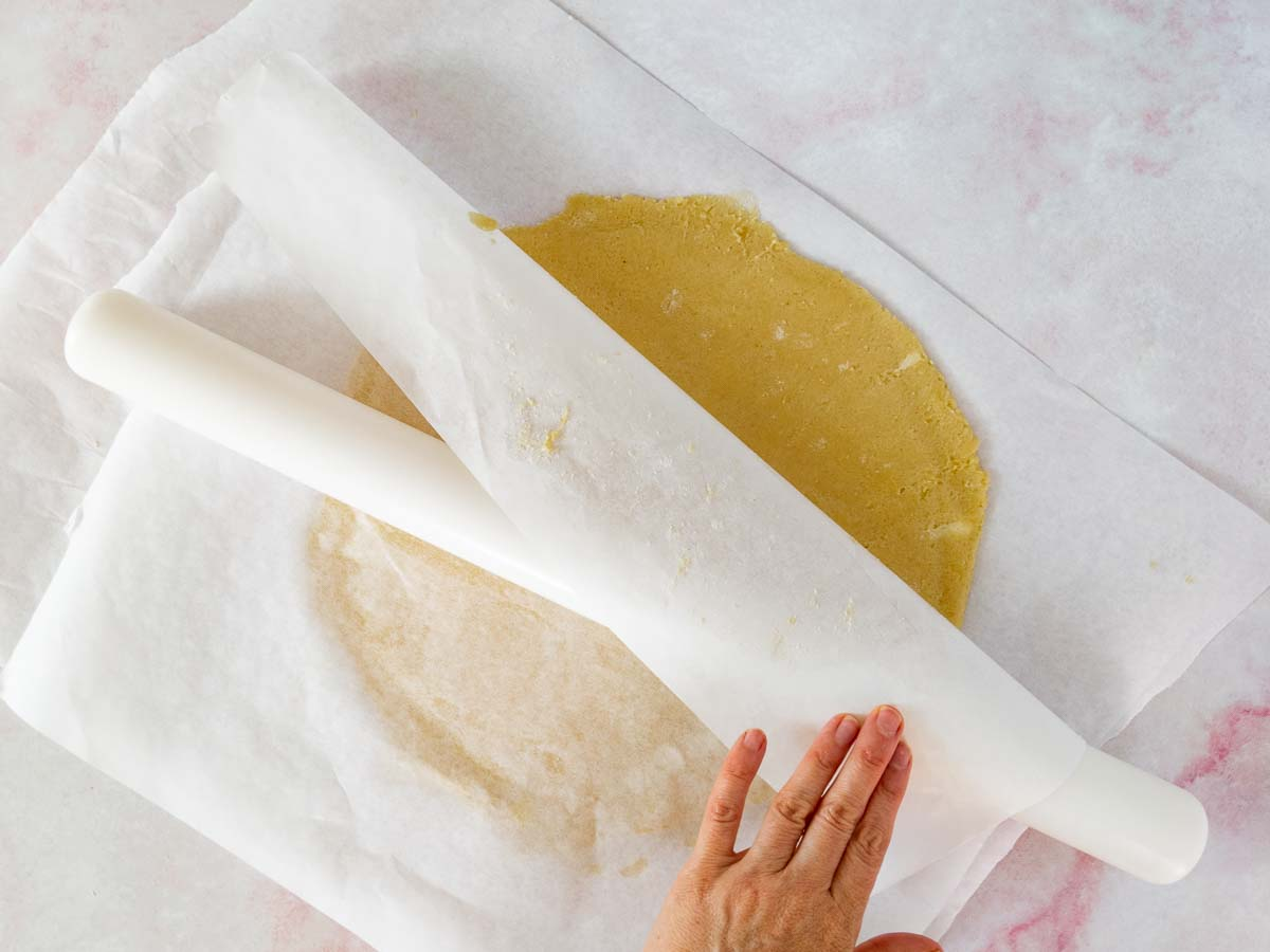 rolling gluten free crust between pieces of parchment