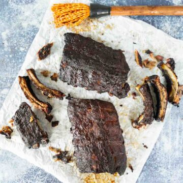 smoked ribs on parchment