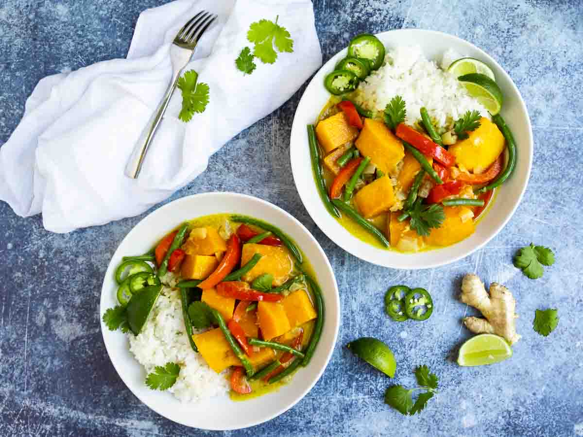 vegetarian curry in bowls