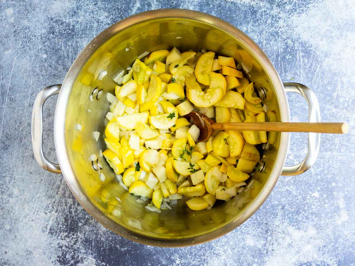 softening vegetables in a stock pot