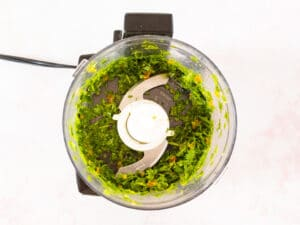 cilantro and pepper in food processor