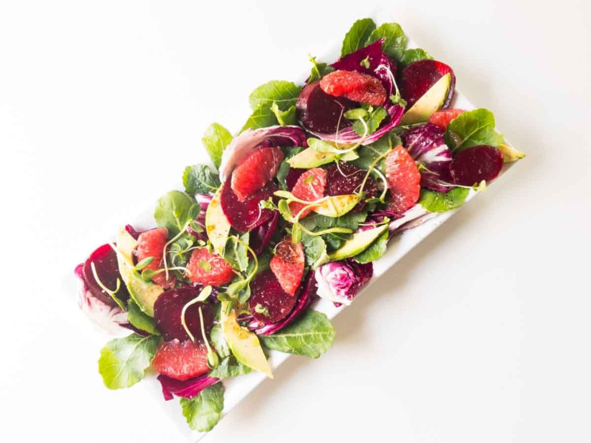 grapefruit and beet salad on a platter