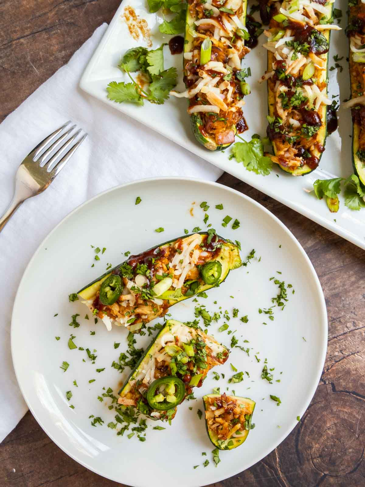 Serving and eating zucchini boats