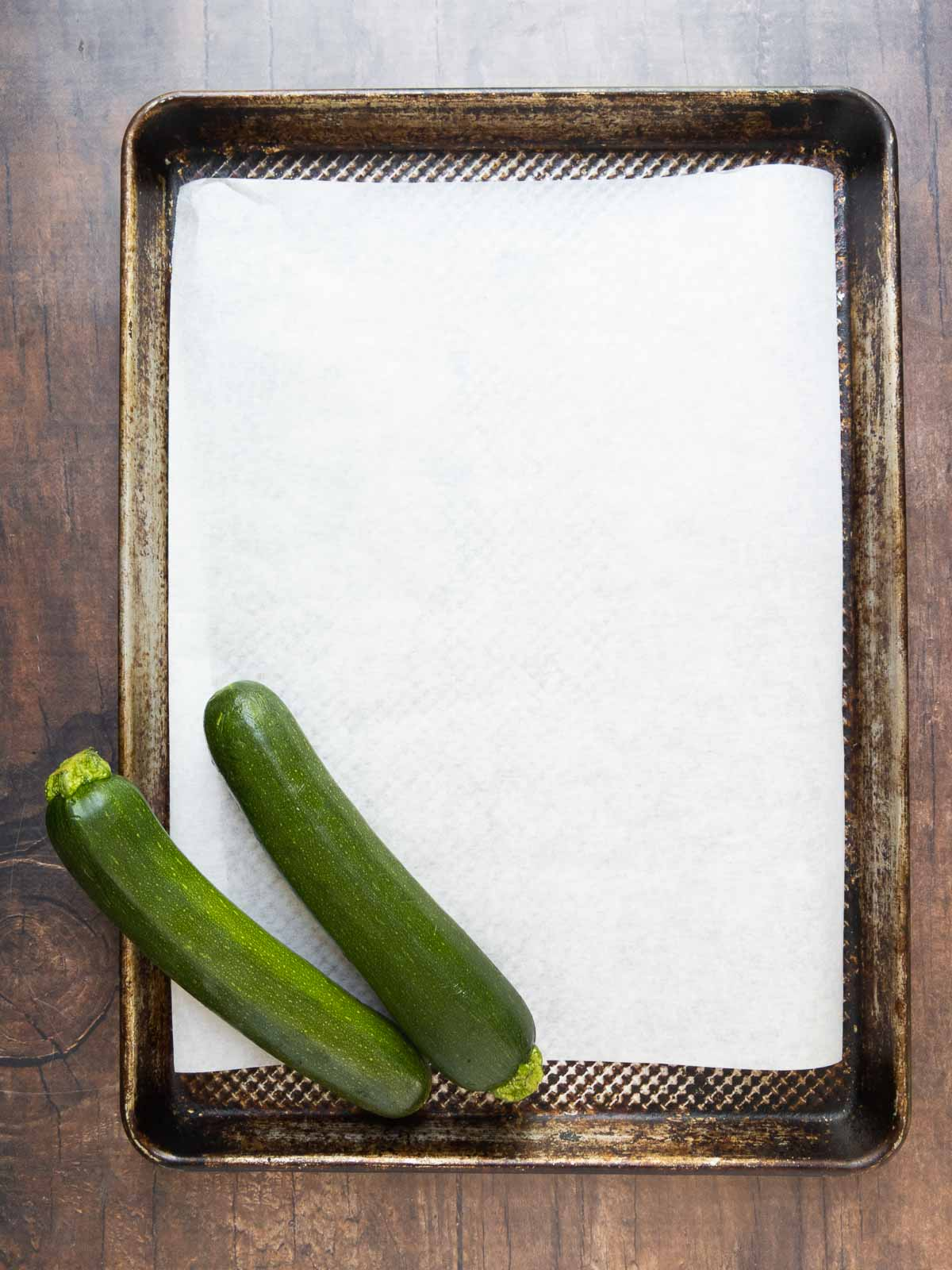 parchment lined baking sheet