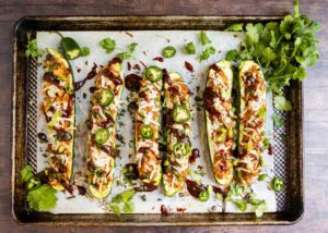 BBQ zucchini boats with garnishes