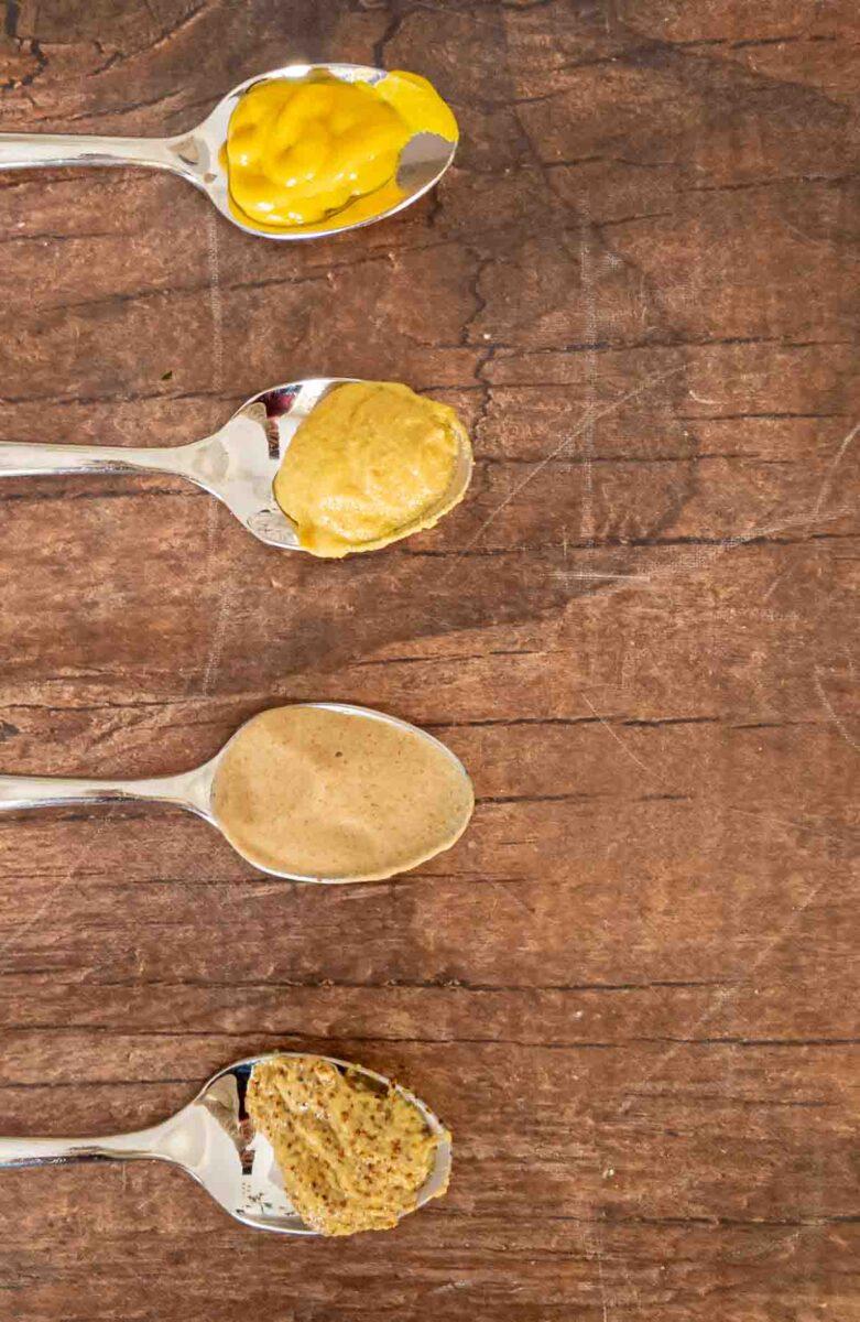mustard types on spoons