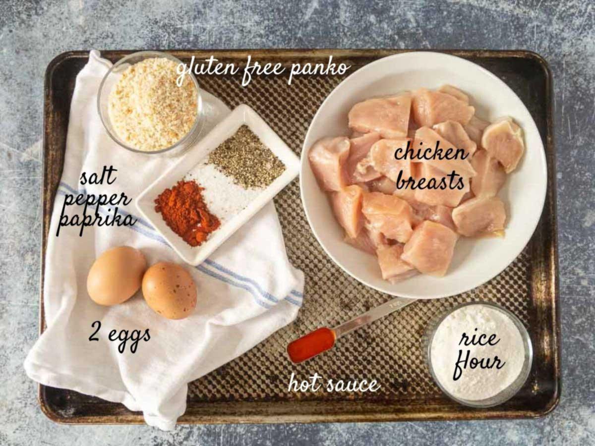 gluten free chicken nugget ingredients on a tray