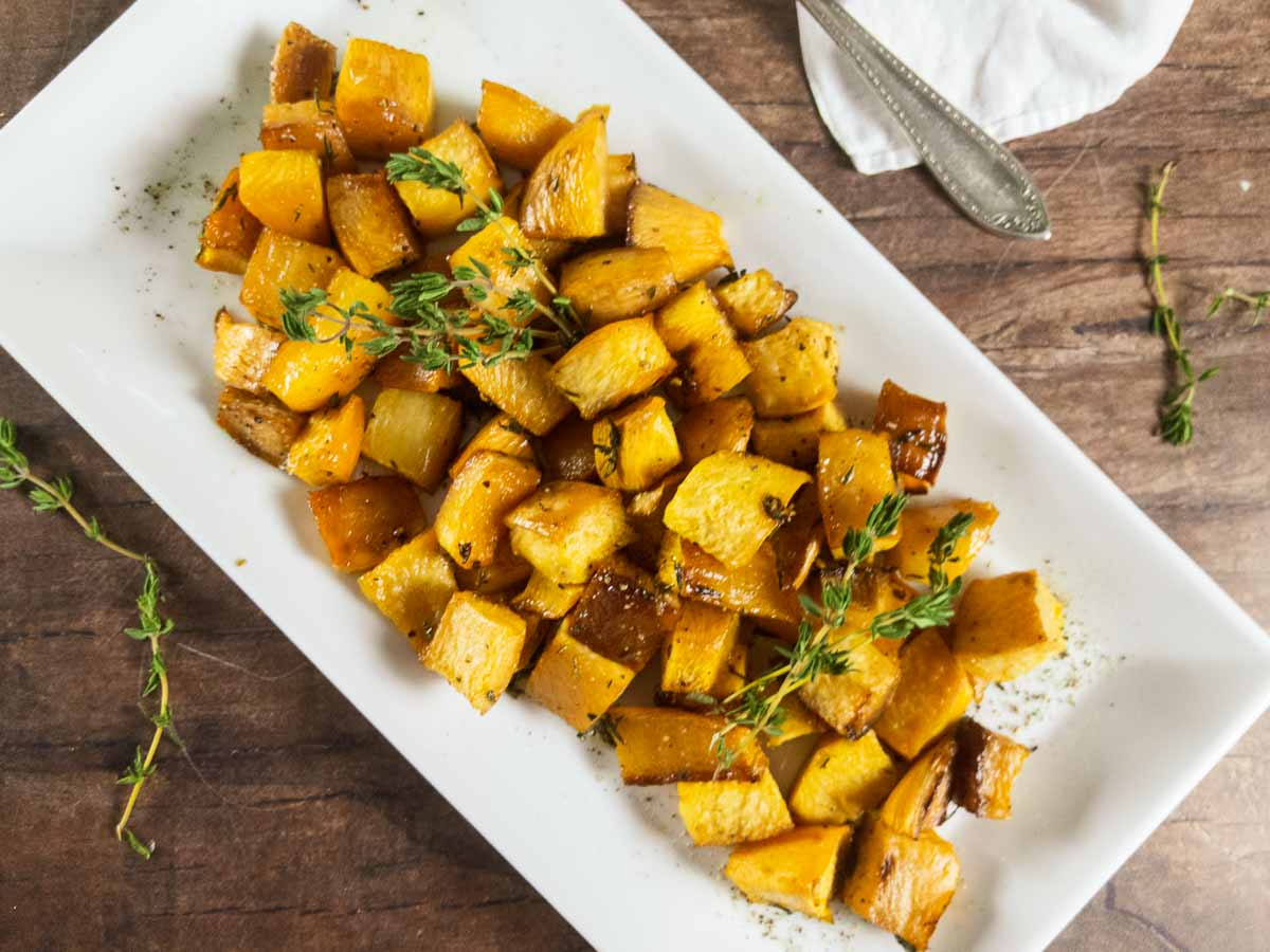 roasted rutabaga on a white plate