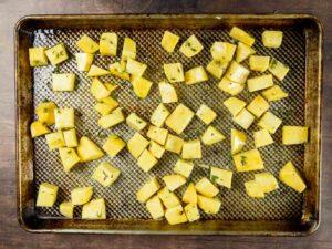 rutabaga on a baking sheet