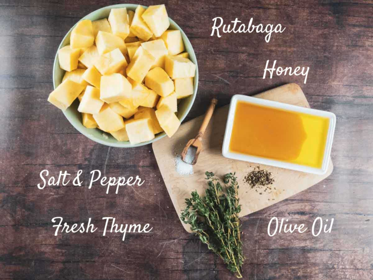 ingredients for rutabaga recipe on a wooden counter