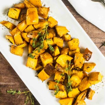 roasted root vegetables on a white plate