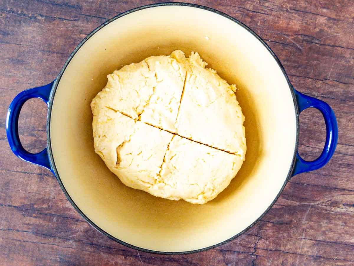soda bread dough in pot
