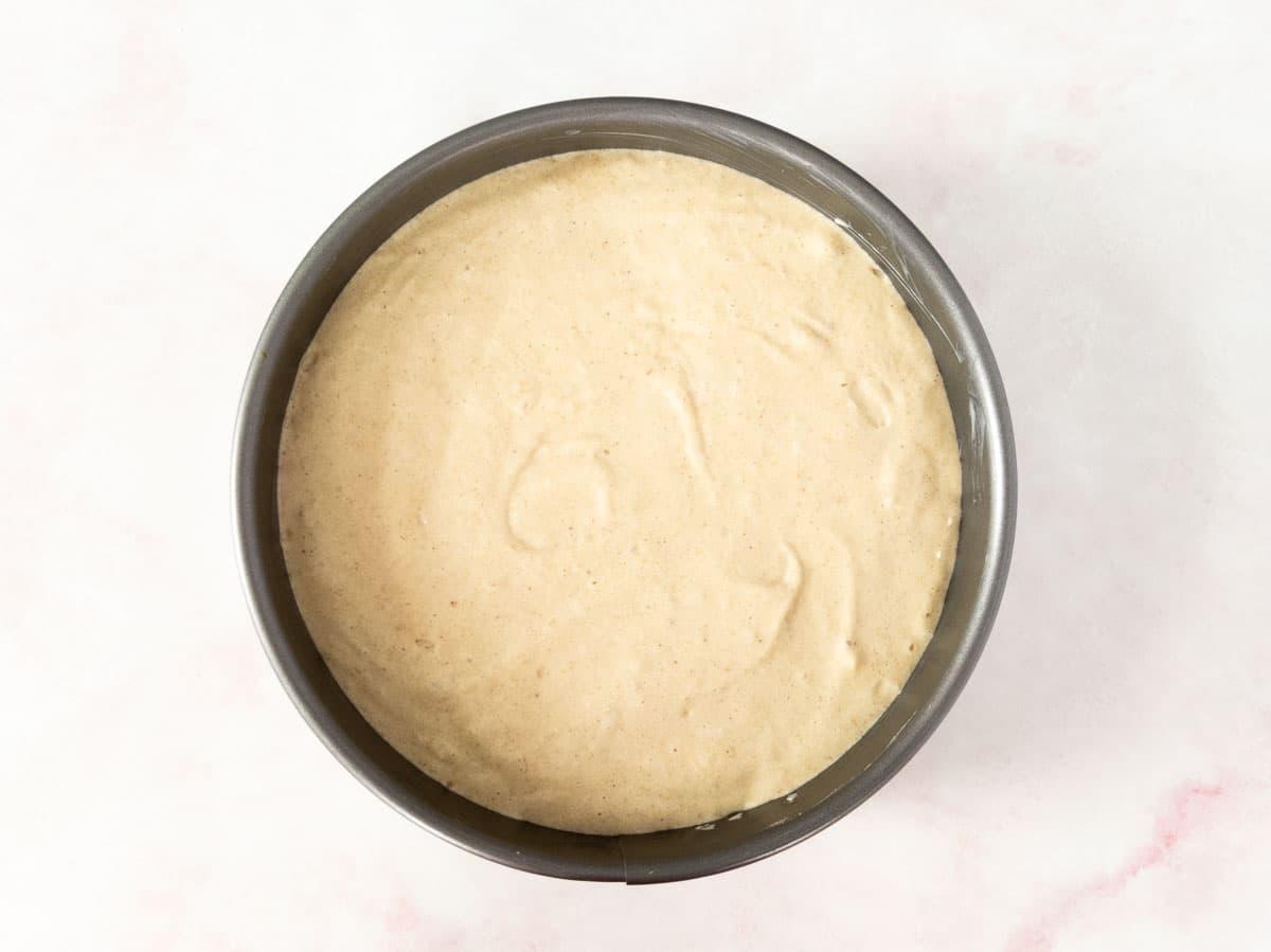 cake batter in pan before baking