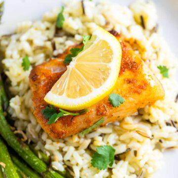 blackened cod on rice