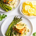 cod on plate with rice and asparagus