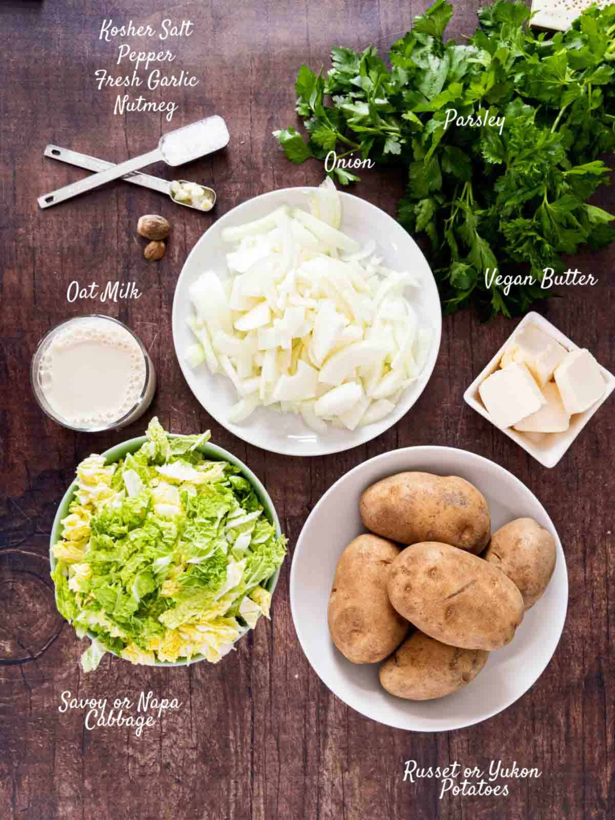 colcannon ingredients on counter