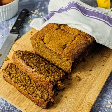 banana bread with slices on counter