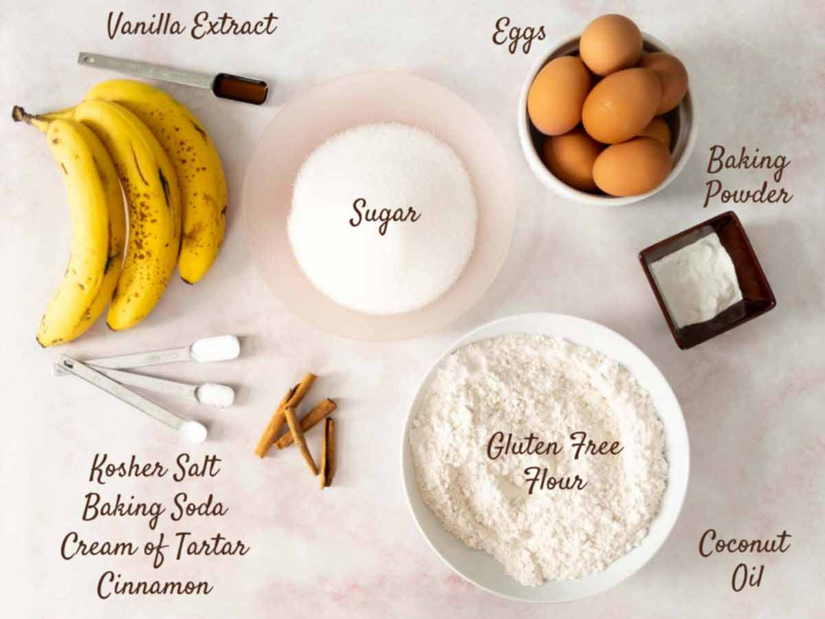 ingredients for banana cake on counter