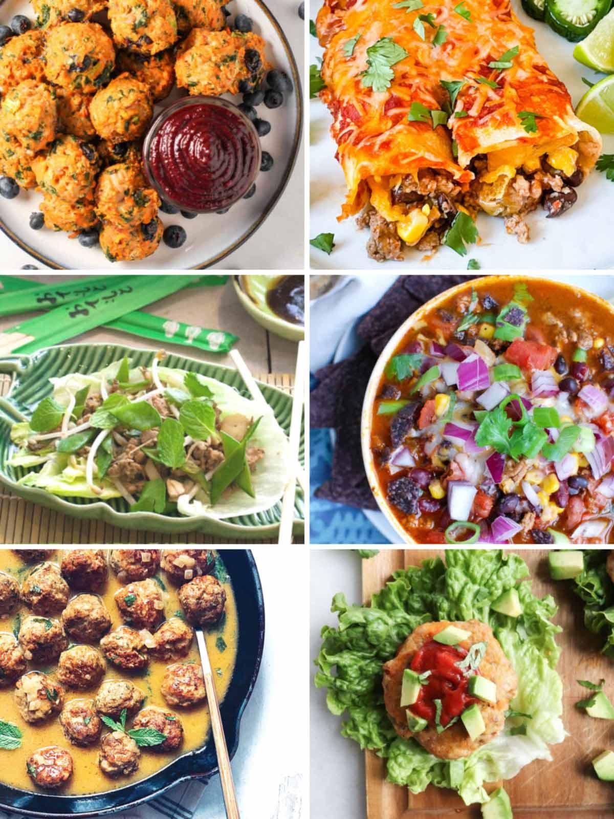 collage of gluten free ground turkey recipes