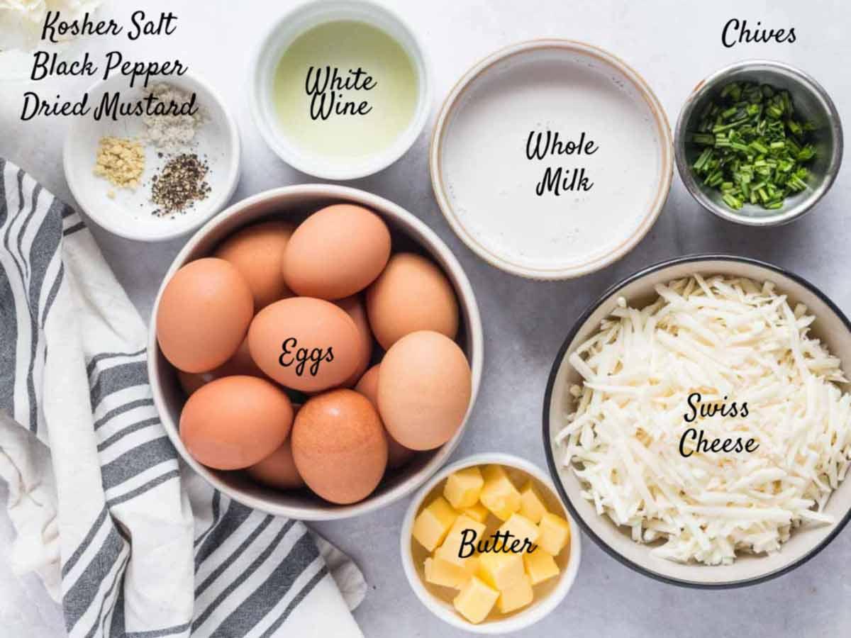 breakfast casserole ingredeitns on a counter