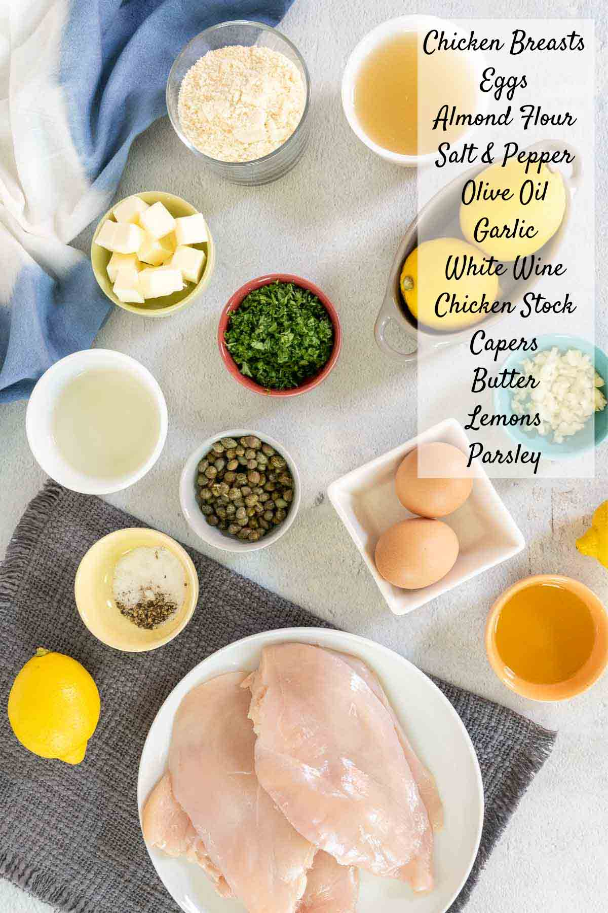 Ingredients for chicken piccata with text
