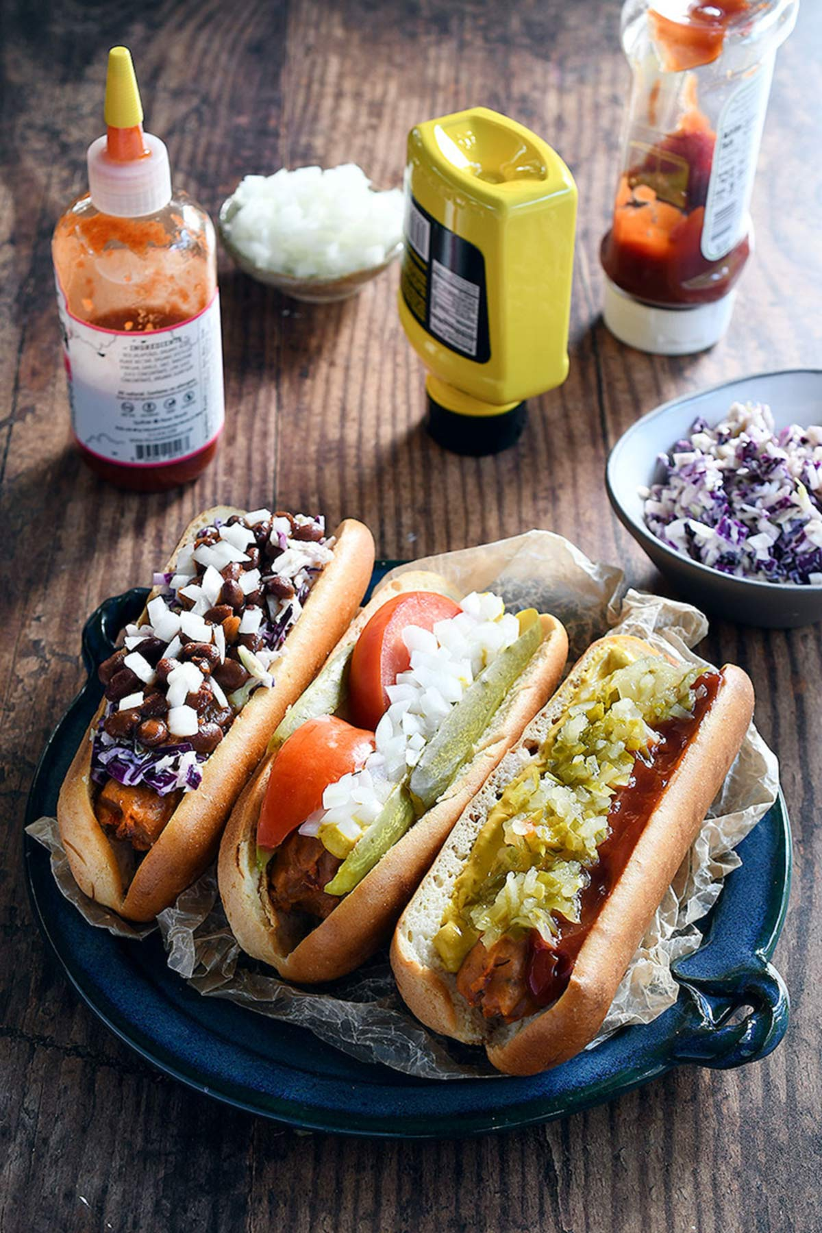 vegan hot dogs with toppings