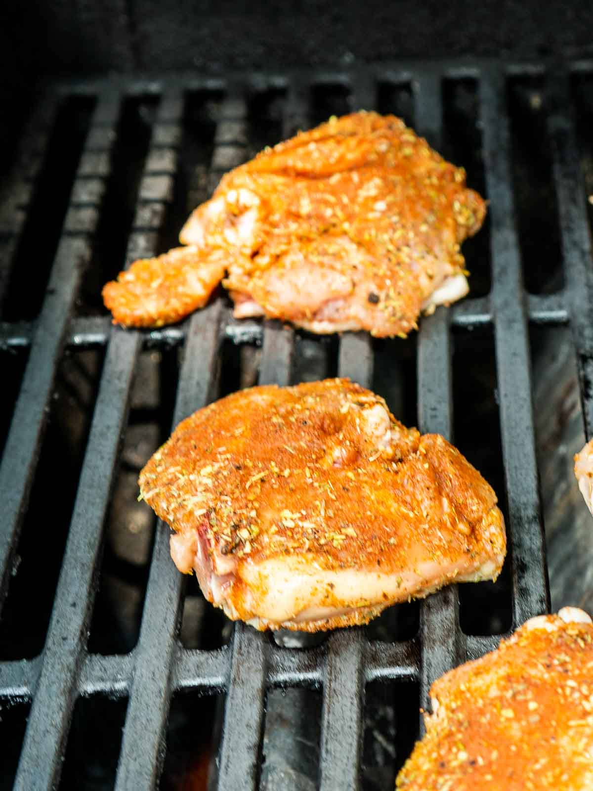 chicken skin side down on grill
