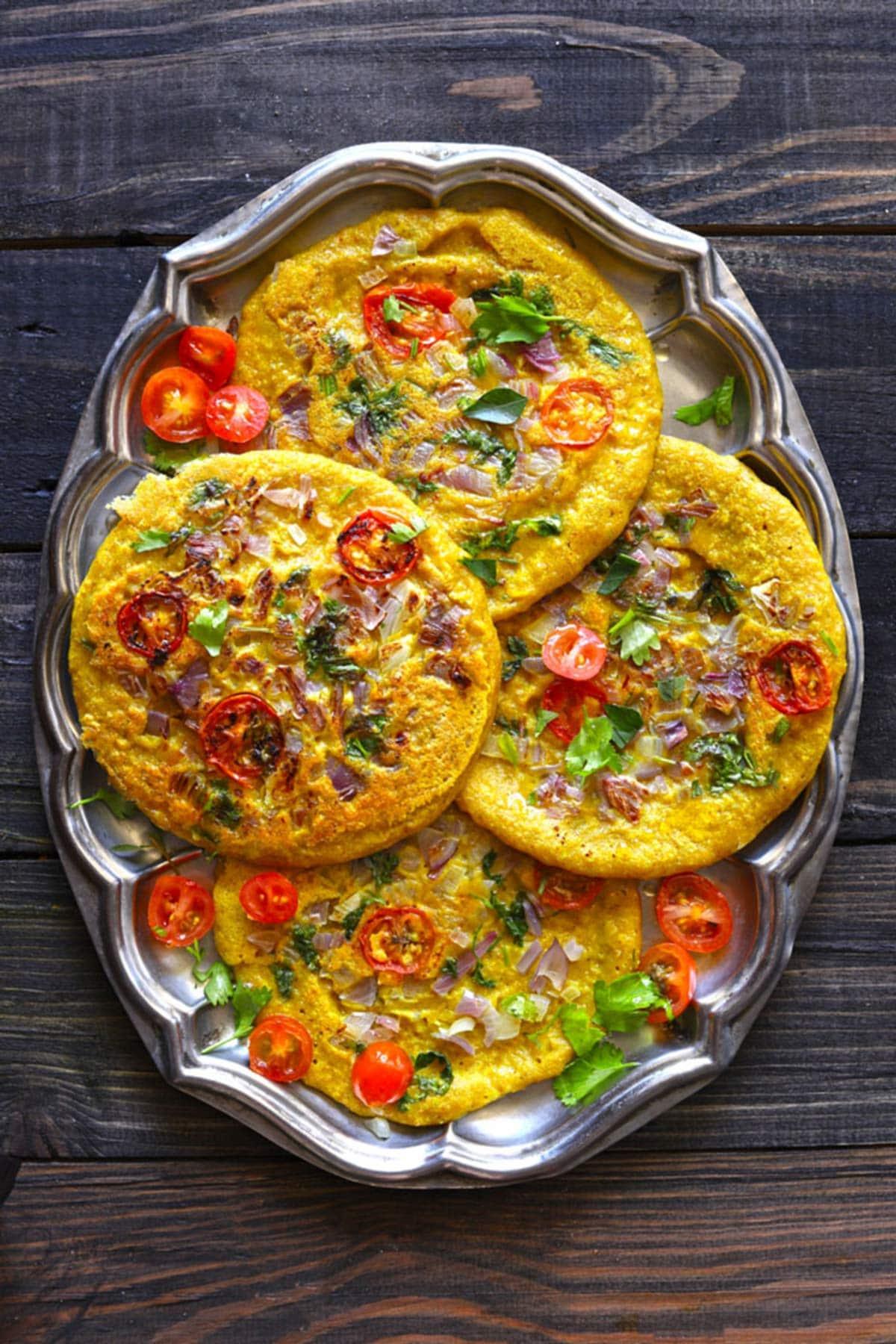 savory indian pancakes on platter