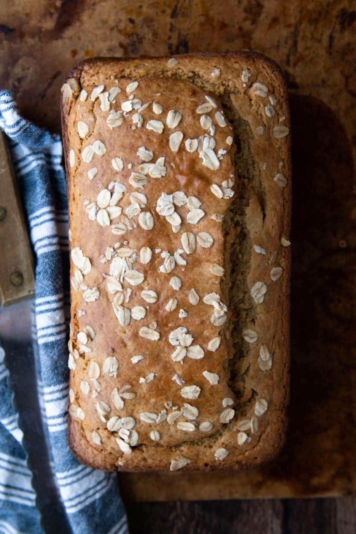 loaf of bread with oat topping