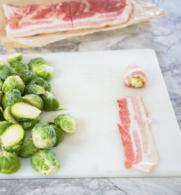 prepping and wrapping brussels sprouts